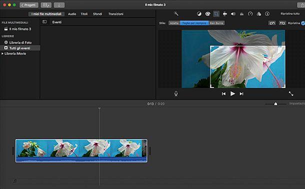 Come ritagliare l'immagine di un video con iMovie