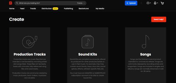 Schermata creazione Beatstars