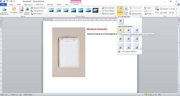 Inserire del testo accanto a immagini con Microsoft Word su computer