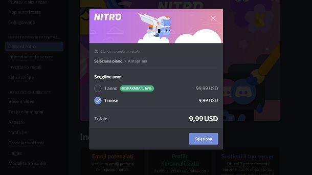 Come regalare abbonamento Discord Nitro