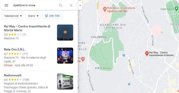 Ripetitori antenna Google Maps