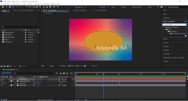 schermata effetti after effects