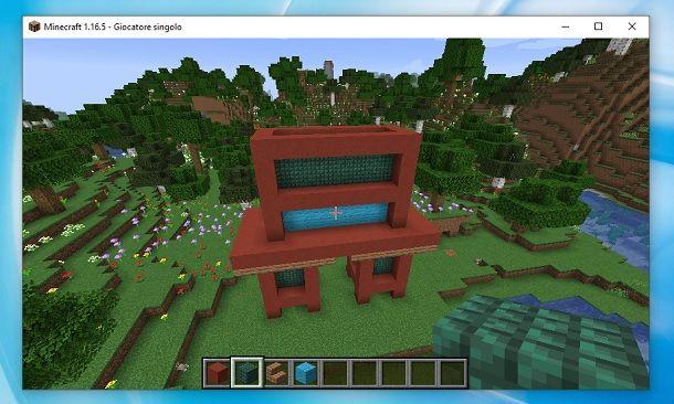 Riempito secondo piano tempio giapponese Minecraft