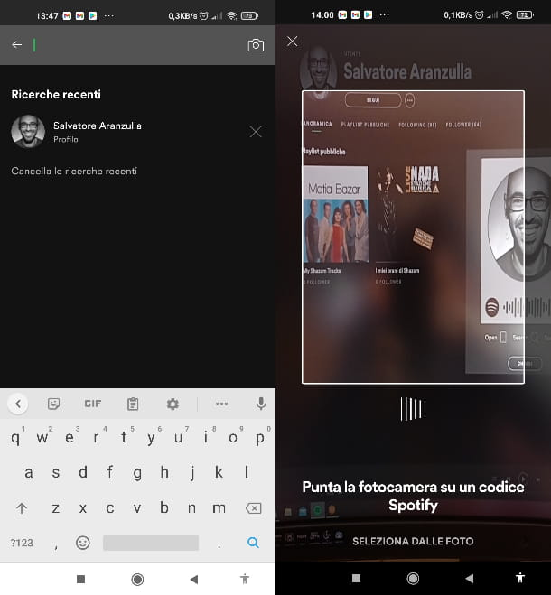 Scansionare codice Spotify