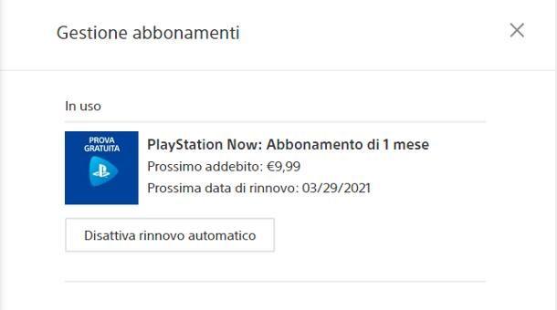 Come disattivare il rinnovo automatico di PlayStation Now