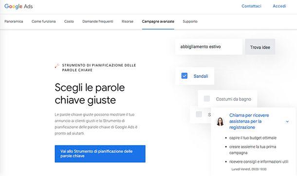Come creare una campagna Google Ads con Strumento di Pianificazione delle Parole Chiave