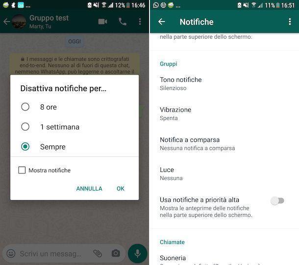 Notifiche gruppi WhatsApp Android