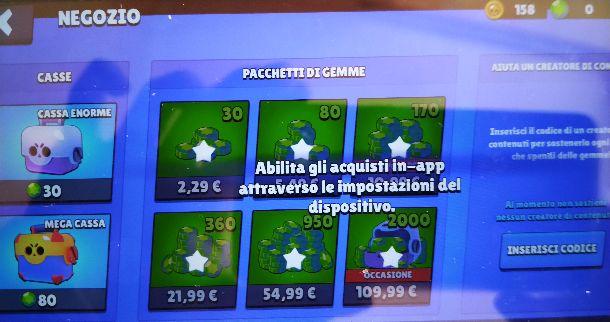Acquisti in-app bloccati Brawl Stars