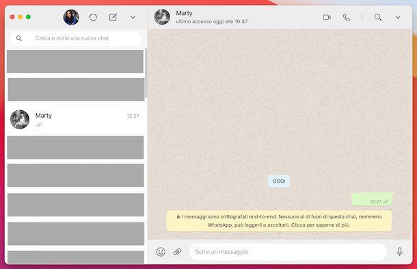 WhatsApp computer messaggio vuoto