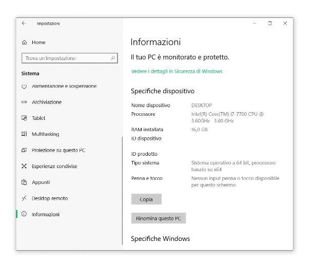 Informazioni PC Windows 10