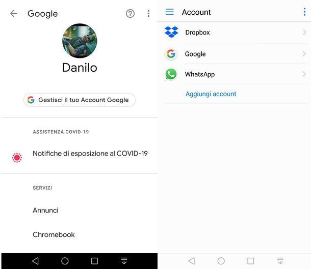 Aggiungere account Google su Android