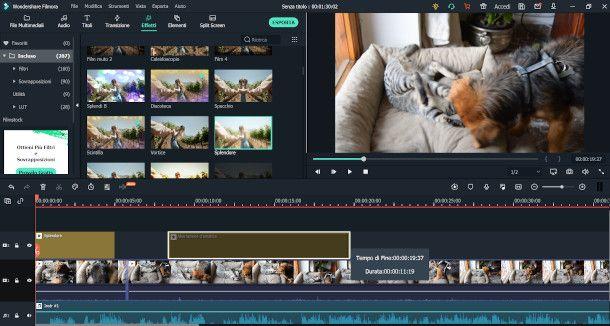 schermata effetti FilmoraX