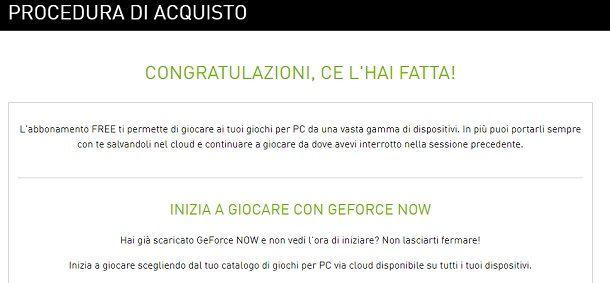 Account gratuito NVIDIA GeForce Now