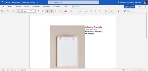 Inserire testo accanto a immagini su Word Online