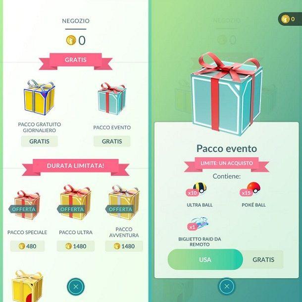 Pacco evento gratis biglietto raid da remoto Pokemon GO