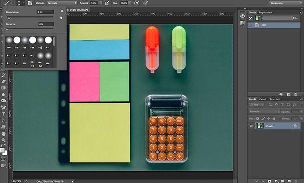 Come fare le ombre con Photoshop scelta strumento Pennello