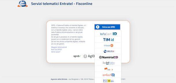 schermata scelta provider AdE