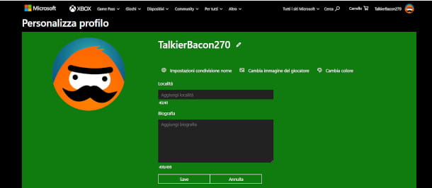 Modifica nome account Microsoft Xbox