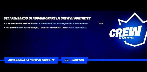Abbandona la Crew di Fortnite