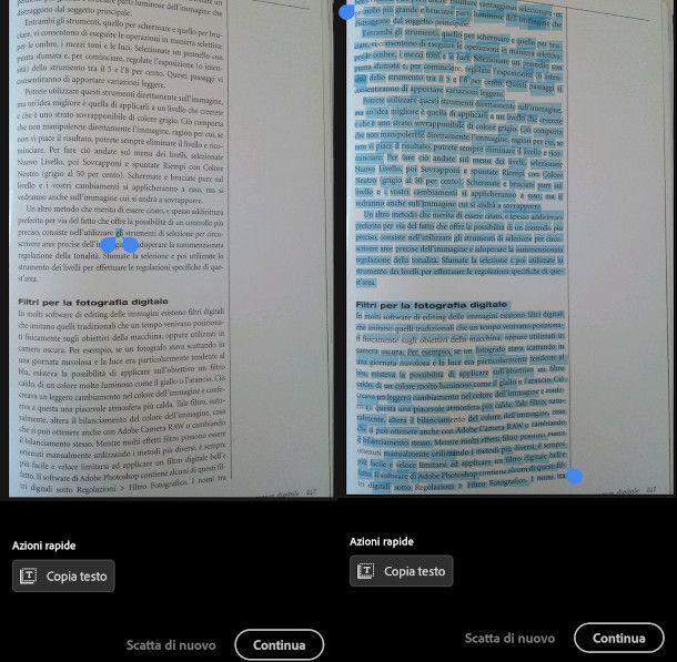 selezione testo adobe scan