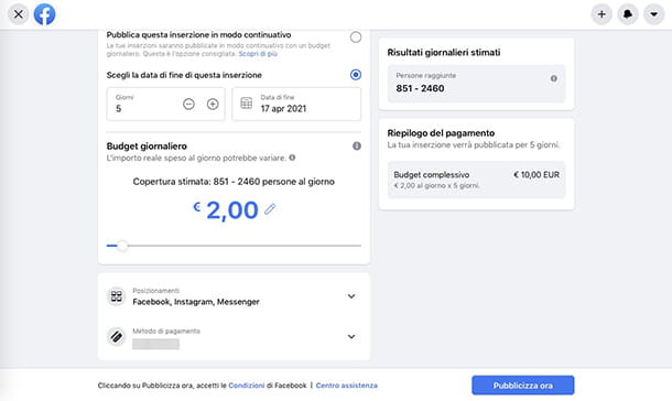 Come fare Facebook Ads gestione budget