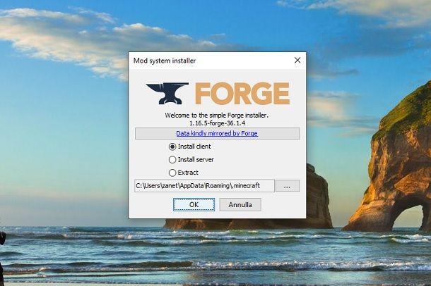Installazione Forge su Minecraft
