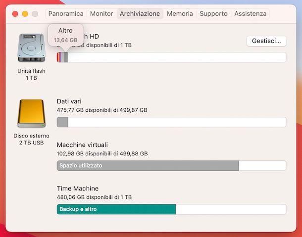 Altro spazio d'archiviazione macOS