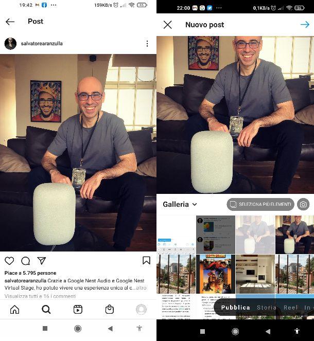 Ripostare post feed Instagram