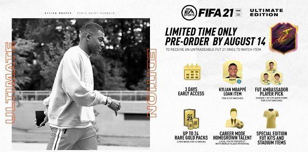 Prenotazione FIFA 21 pacchetti gratuiti
