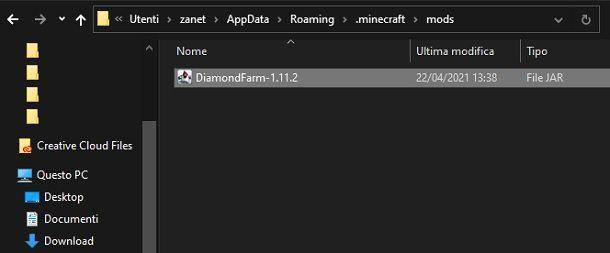 Mod Minecraft cartella Java