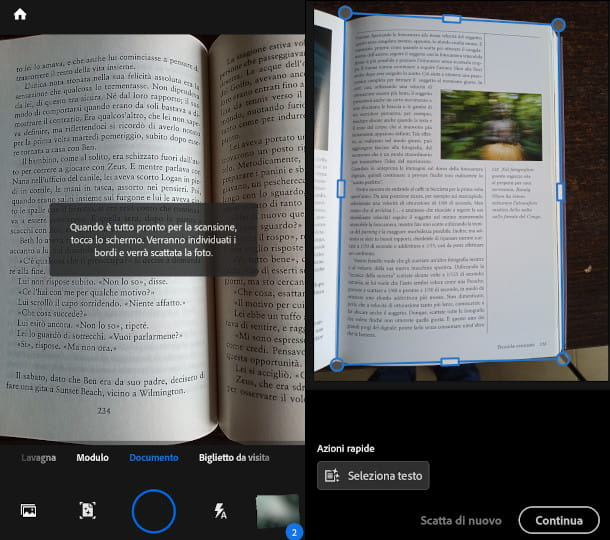 scansione libro adobe scan