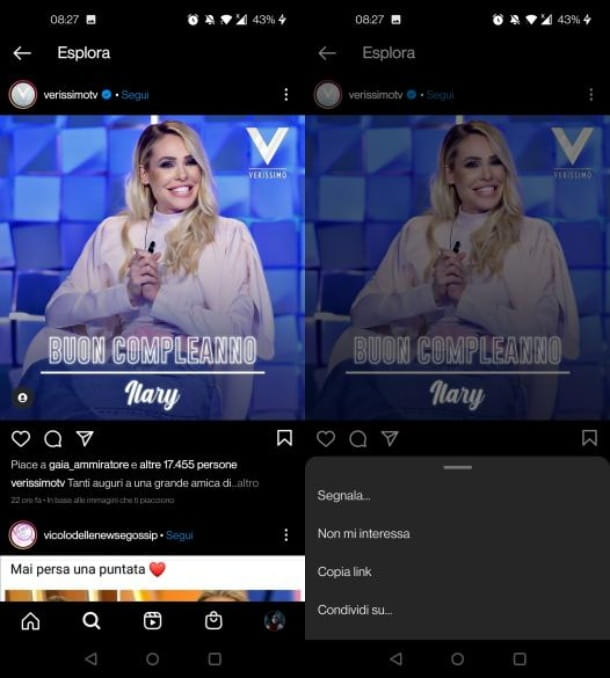 Nascondere i contenuti su Instagram