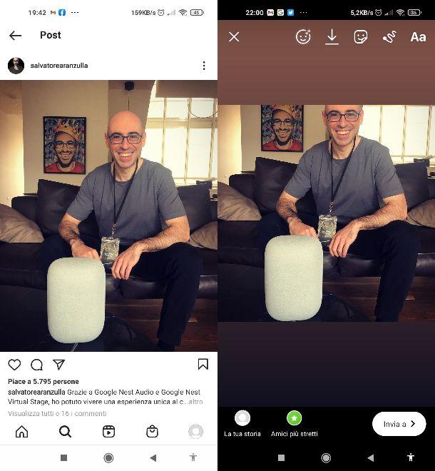 Ripostare post storia Instagram