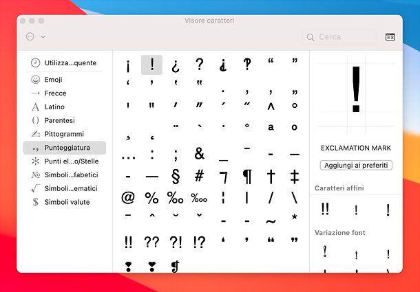 Visore caratteri Mac