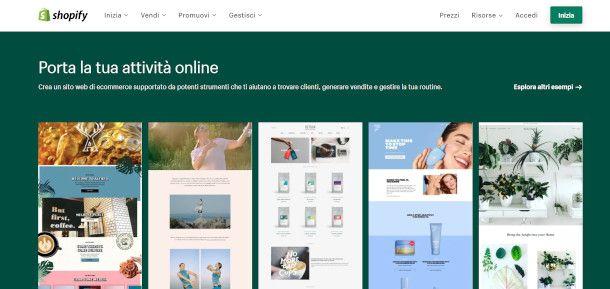shopify pagina principale