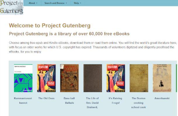 Pagina principale di Project Gutenberg