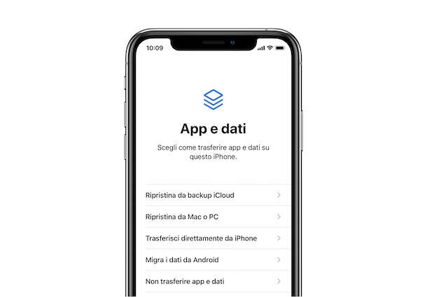 App e dati configurazione iOS