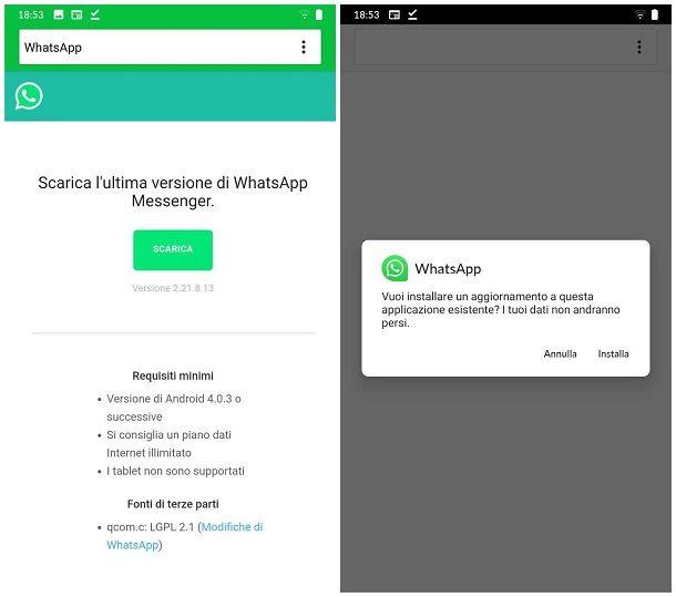 Come aggiornare WhatsApp senza Play Store