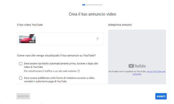 schermata promozione google ads youtube
