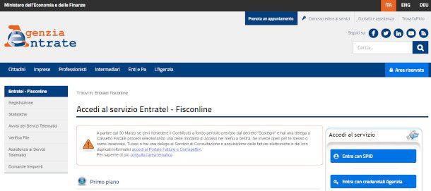 homepage Agenzia delle Entrate