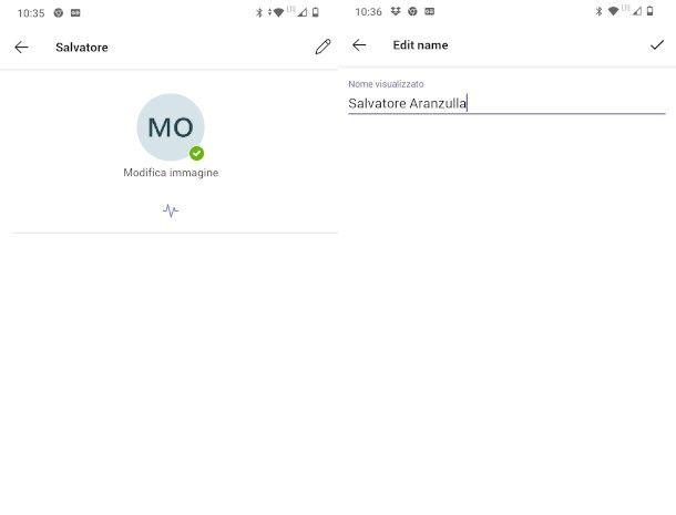 modifica profilo teams da app