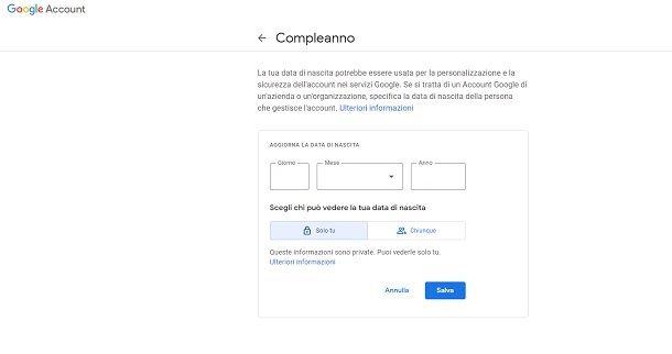 Cambiare data di nascita Google YouTube