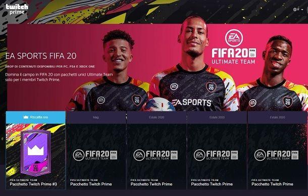 Pacchetti gratuiti Twitch Prime FIFA