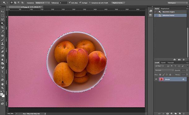 Come fare le ombre su Photoshop selezione Bacchetta magica