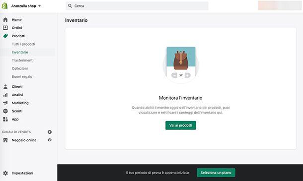 Come gestire un ecommerce con Shopify Inventario