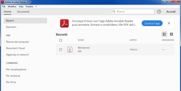 Usare Acrobat Adobe Reader per aggiungere firme su PDF da Windows