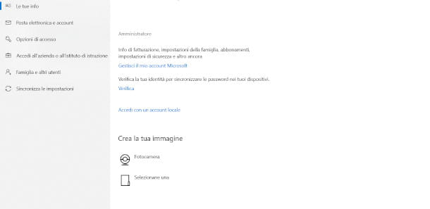 Windows10 schermata le tue info