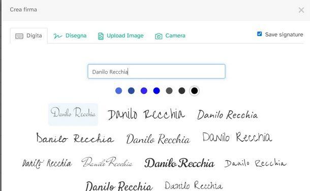 Usare lo strumento di firma online fornito da Sejda