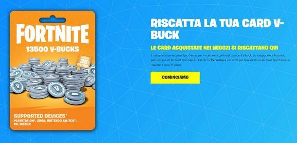 Riscattare i V-Buck per Nintendo Switch dal sito Epic Games