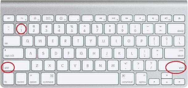 Tastiera Mac punto esclamativo